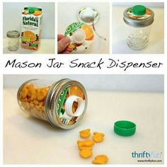 This is a guide about making a Mason jar snack container. Mason jars have so many uses in addition to the original one of canning. Pot Mason Diy, Mason Jar Meals, Mason Jars, Mason Jar Projects, Mason Jar Crafts, Diy Projects, Baby Jars, Baby Food Jars, Diy And Crafts