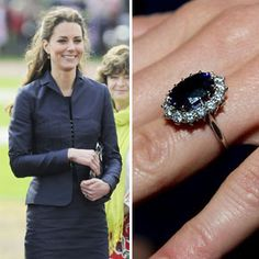 Princess Kate Middleton wears the late Princess Diana's 18carat oval sapphire surrounded by 14 smaller white diamonds. https://www.facebook.com/SpitzJewelers