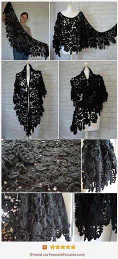 Oversized scarf Black wedding Gothic style flower Goth Witch accessories Dark Victorian Knitted shawls Triangle Irish crochet Warm shawl https://www.etsy.com/AlisaSonya/listing/563247276/oversized-scarf-black-wedding-gothic?ref=shop_home_active_21  (Pinned using https://PromotePictures.com)