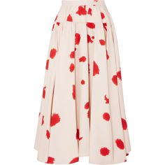 CALVIN KLEIN 205W39NYC Printed silk skirt (10.940 RON) ❤ liked on Polyvore featuring skirts, red, red skirts, knee length a line skirt, pink a line skirt, red polka dot skirt and dot skirt