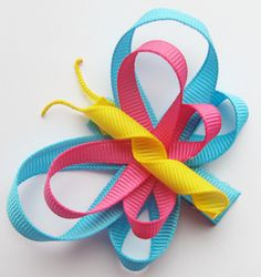 Summer Brights Butterfly Hair Clip Turquoise by HairBowsbyMarsha, $5.50