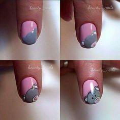 Art Simple, Tatty Teddy, Nail Tutorials, Summer Nails, Nail Art Designs, Make Up, Beauty, Tutorial Nails, Care Bears