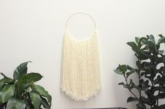 White Fiber and Polished Brass Hoop Wall Art Wall Hanging Tapestry