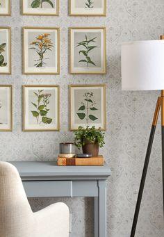 Office Nook Makeover with Vintage Flower Art DIY