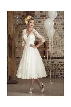 Brighton Belle by True Bride ROSIE Tea Length Vintage 1950s 60s Wedding Gown With Sleeves - Wedding Dresses With SLEEVES from Cutting Edge Brides UK