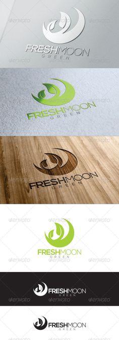 Green Fresh Moon Logo by Logo Branding, Branding Design, Clover Logo, Inspiration Logo Design, Moon Logo, Green Logo, Cool Business Cards, Logo Concept, Grafik Design