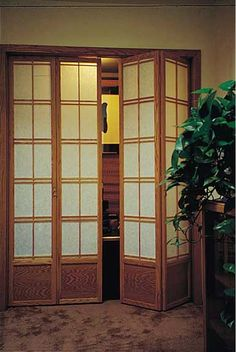 Would love these in front of our laundry closet area -- Cherry Tree Design Shoji Closet Doors | Shoji Bi-Fold 37