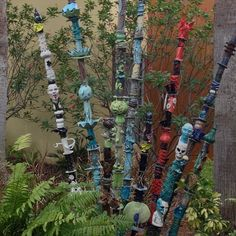 """ceramic bamboo"" or pottery garden totems at Manatee Art Center in Bradenton, Fl. -Found on Flickr"