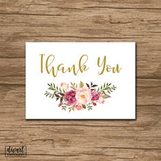 Floral Thank You Card, Baby Shower Thank You Card, Bridal Shower Thank You Card - rustic watercolor roses olive burgundy pink blush - Maria by DIVart on Etsy