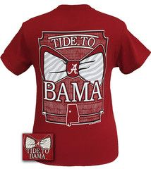 Alabama Crimson Tide Tied To Bama Big Bow Girlie Bright T Shirt | SimplyCuteTees