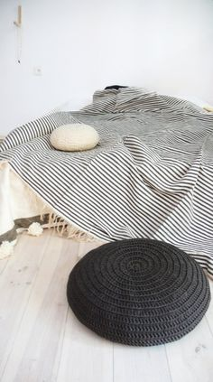 Stripe Cotton Moroccan Blanket - Ecru with Grey stripes This blanket hand made by weavers from a weaving cooperative in Morocco. The yarn is first ...
