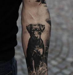 Geometric dog tattoo Posts is part of Geometric Dog Tattoo Dog Simple Tattoos Momcanvas Com - Tattoo black dog on forearm Ideas Tattoo Designs Hunting Tattoos, Dog Tattoos, Forearm Tattoos, Animal Tattoos, Body Art Tattoos, Girl Tattoos, Tattoos For Guys, Sleeve Tattoos, Tatoos