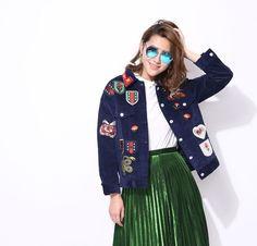2016 outono inverno bordado crachá adesivo tigre nova jaqueta de veludo mulheres novo streetwear em Jaquetas básicas de Das mulheres Roupas & Acessórios no AliExpress.com | Alibaba Group