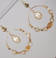 25% SALE Gold Gemstone Hoop Earrings Hammered by DoolittleJewelry