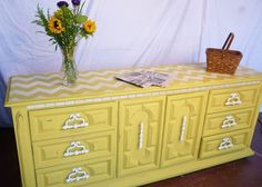 Modern Chevron Wall Stencil on Dresser Top | English Yellow & Pure White Chalk Paint® | Project by Mission Makeover
