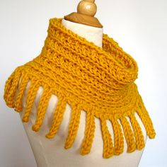 Chunky Knit Cowl Scarf Hood Capelet -  Honey Gold - Crocheted Fringe