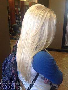 platinum blonde, bleach blonde, bleach and tone, white blonde, solid blonde, long hair by: MadisonMullin