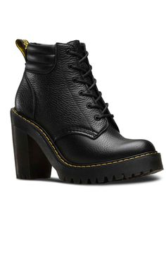 Dr. Martens Persephone Leather Boots    The stunning heeled Persephone boots from Dr. Martens features their classic textured Aunt Sally leather. With a padded ankle and chunky heel, these boots are sup...