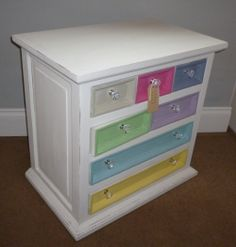 The colours on this 7 drawer spice chest were inspired by the wonderful colours of the French Ladurée macarons.This is in store now - see https://www.facebook.com/Retroville for more info