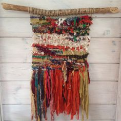 Bohemian Woven Wall Hanging with Reclaimed Silk Ribbon, Boho Woven Wall Hanging, Rustic Boho Wall Hanging, Bohemian Vibe Wall Hanging by fishwarp on Etsy https://www.etsy.com/listing/247719355/bohemian-woven-wall-hanging-with