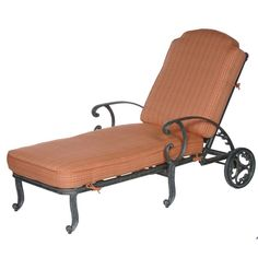 chaise lounge patio with aluminum frame and orange cushion