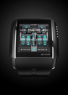 タッチパネルインターフェイスの腕時計。説明読んだけど使い方わからんかった。