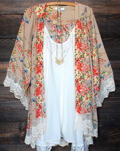 Stylish Collarless Long Sleeve Laciness Floral Print Women's Kimono Blouse
