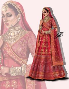 Digital illustration of An Indian Bridal Without (watermark) for T-shirt/ Wallpapers / Home Decor - Available in jpg/png Fashion Design Books, Fashion Design Sketchbook, Fashion Design Drawings, Fashion Sketches, Fashion Art, Fashion Drawing Dresses, Fashion Illustration Dresses, Princess Illustration, Digital Illustration