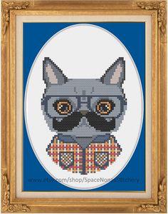 Hipster Cat Cross Stitch Pattern by SpaceNonasStitchery on Etsy