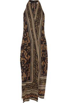 Donna Karan | vestido de gasa de seda de estiramiento-Wrap-efecto Impreso | NET-A-PORTER.COM