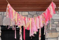 Cute Baby shower decor. Shabby Rag Torn Fabric Garland Banner  Pink Yellow by sassy1121, $30.00
