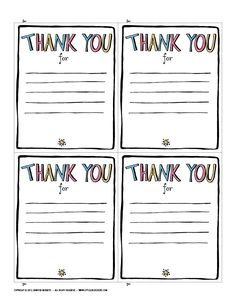 Printable Note Card Template Best Of Thank You Printable Jennie Moraitis Teacher Thank You Notes, Printable Thank You Notes, Thank You Letter Template, Thank You Card Template, Teacher Cards, Notes Template, Teacher Gifts, Writing Template, Letter Templates