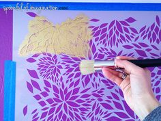 Painting with Stencils and Stencil Brushes - Colorful purple and gold girl's room decor and bedroom makeover - Petal Play Floral Damask Wall Stencils by Royal Design Studio