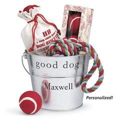 personalized gift bucket for your pup D75171 - Dog Beds, Dog Harnesses and Collars, Dog Clothes and Gifts for Dog Lovers | In The Company Of Dogs