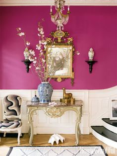 This entryway is painted in Benjamin Moore's Razzle Dazzle.