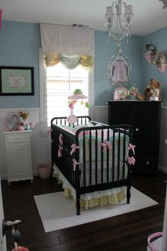 Blue and dark brown for a girls nursery