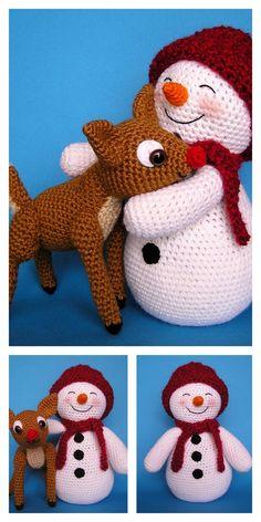 Christmas Toys, Christmas Knitting, Christmas Snowman, Diy Snowman, Crochet Christmas Decorations, Holiday Crochet, Free Christmas Crochet Patterns, Crochet Amigurumi Free Patterns, Crochet Blanket Patterns