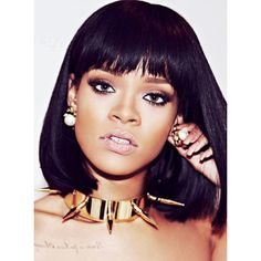 Stock Rihanna BOB Hair Full Lace Wig SC013-s ❤ liked on Polyvore featuring accessories y hair accessories