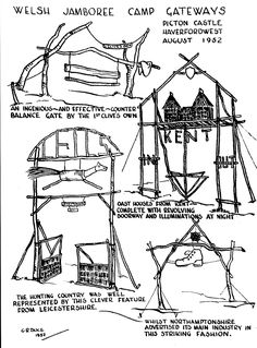 These drawings record four gateways from the Welsh Jamboree held at Picton Castle  in August 1952. Drawn by G.R. Duce and published on p...
