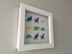 "Image of Dinosaur - Small (6"" sq.) - Green, Brown and Yellow"