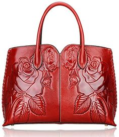 Pijushi Designer Rose Collection Women's Genuine Leather Tote Handbags