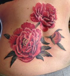 My peony tattoo created in collaboration with swedish tattoo artist Annicka Westerlund at Pimp My Skin Tattoo in Tungelsta, Sweden. Annicka successfully interpreted all my ideas, and this is the outcome.   The foto is taken less than five minutes after the tattoo was finished. The magenta color is more prominent in real life.