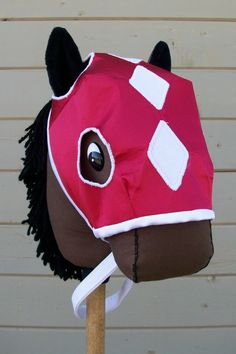 Race Horse Bridle and Mask Stick Horse by Rustic Horseshoe