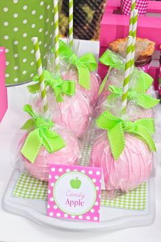 Apple of My Eye Girl Pink Green Fruit Birthday Party Planning Ideas