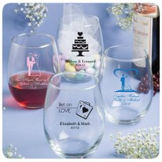 Favors4Everything.com - Personalized Wedding Bridal Stemless Wine Glasses (15 ounces)(http://www.favors4everything.com/personalized-wedding-bridal-stemless-wine-glasses-15-ounces/)