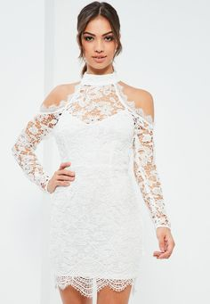 Missguided - White Lace Cold Shoulder Bodycon Dress