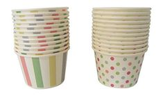 Paper Ice Cream Cups Pastel Stripes Polka Dots Design 24 Count -- Check this awesome product by going to the link at the image. (This is an affiliate link) Tea Party Birthday, 4th Birthday, Custard Recipes, Design 24, Dots Design, Party Tableware, Ice Cream, Cream Cups, Polka Dots