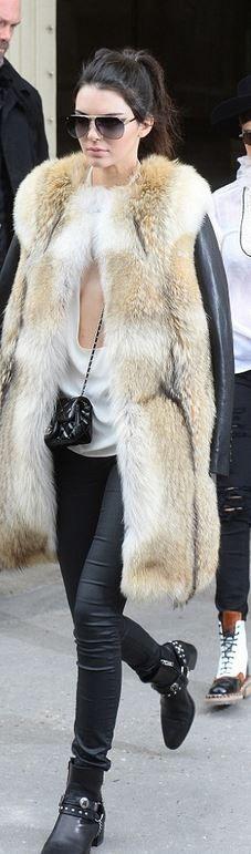 Kendall Jenner in fur coat and jeans - YSL, flat ankle boots, chanel shoulder bag:
