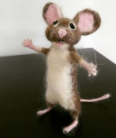 Needle felt mouse, handmade felt crafts sculpture