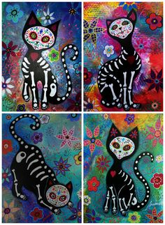 Mexican Folk Art Day of the Dead 4 EL GATO Cats Painting PRINT Whimsical Flowers via Etsy